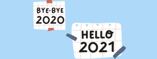 """Bilde med blå bakgrunn og teksten """"bye-bye 2020, hello 2021"""""""